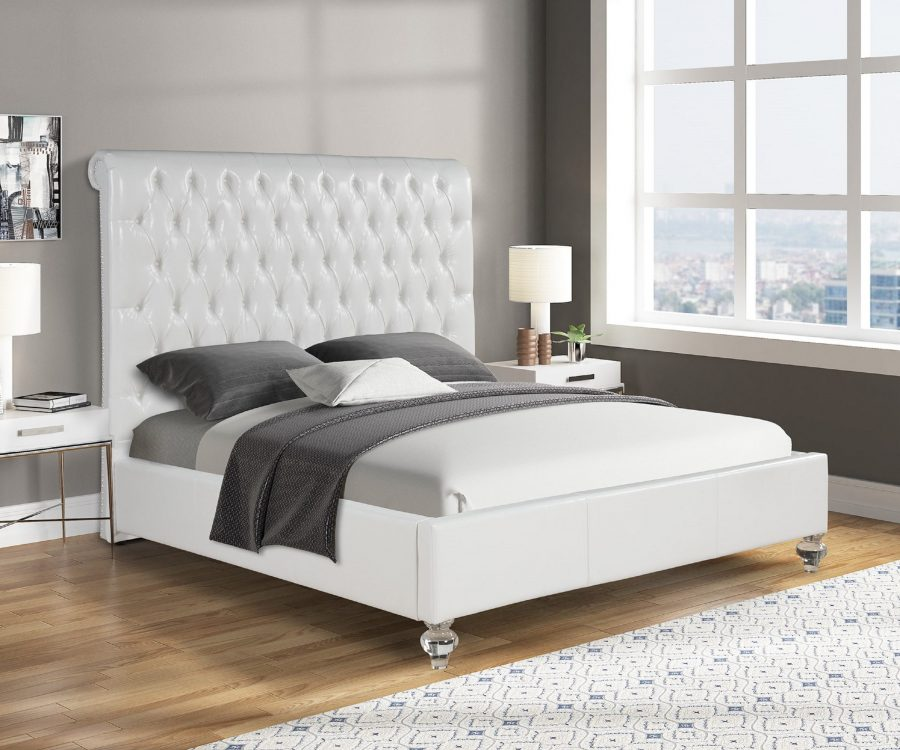 White Faux Leather Panel Bed with Acrylic Feet - Queen
