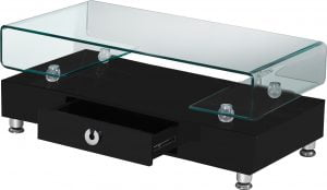High Gloss Lacquer Coffee Table with Drawer and Glass Top (Available in White and Black)|