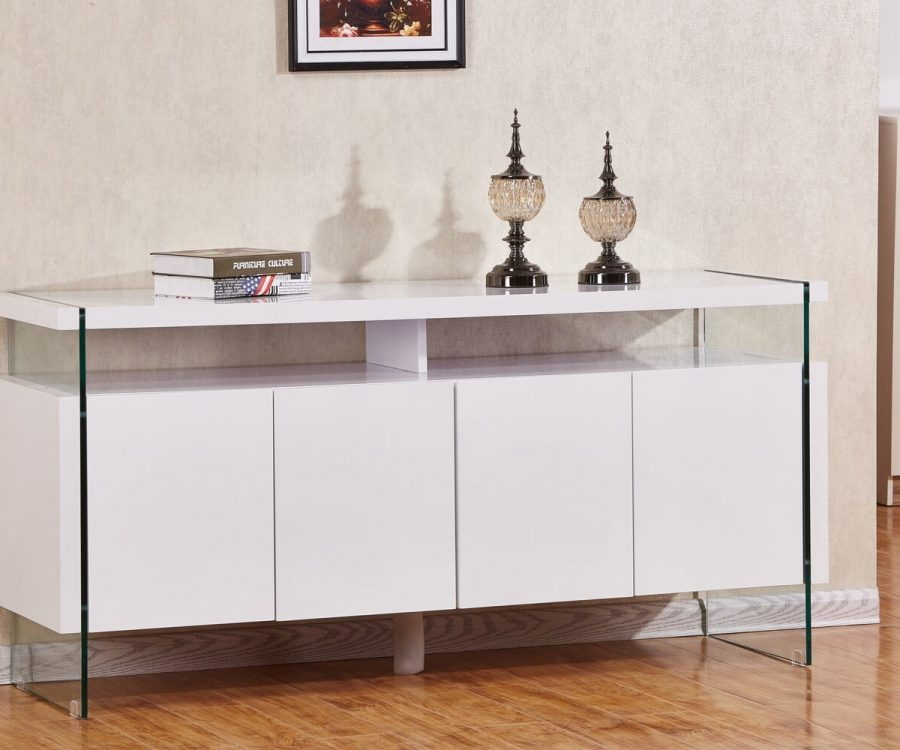 |4 Door Server with Glass Side Panels and 8 Compartments. 2 Colors to Choose: High Gloss White or High Gloss Dark grey||