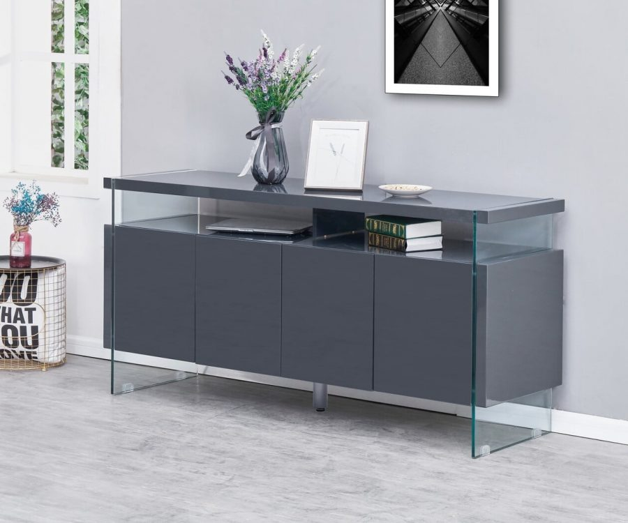 |4 Door Server with Glass Side Panels and 8 Compartments. 2 Colors to Choose: High Gloss White or High Gloss Dark grey|||