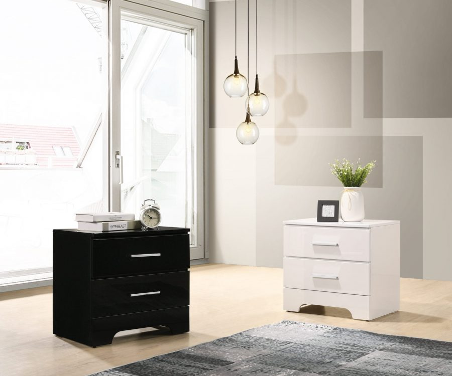 |Lacquer Nightstand with 2 Drawers. Available in The Colors: High Gloss Black and White.