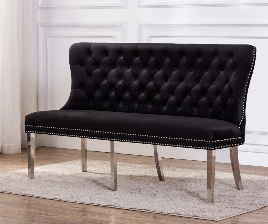 |Bench with Tufted Buttons|Double Nailhead Trim|
