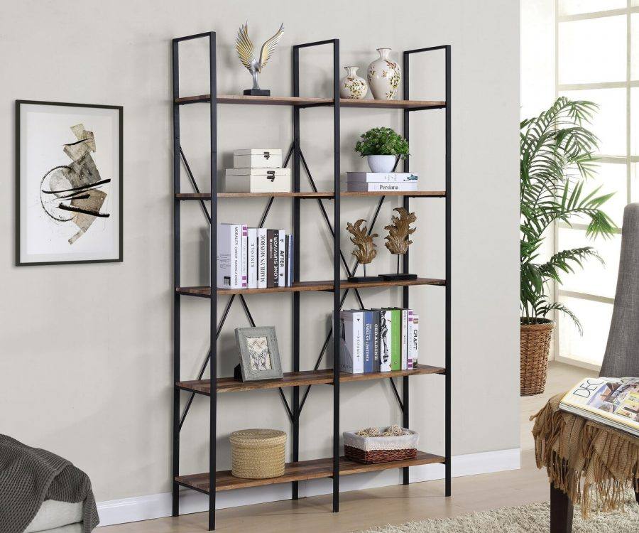 |Wooden 5 Tier Bookcase with Metal Frame|||