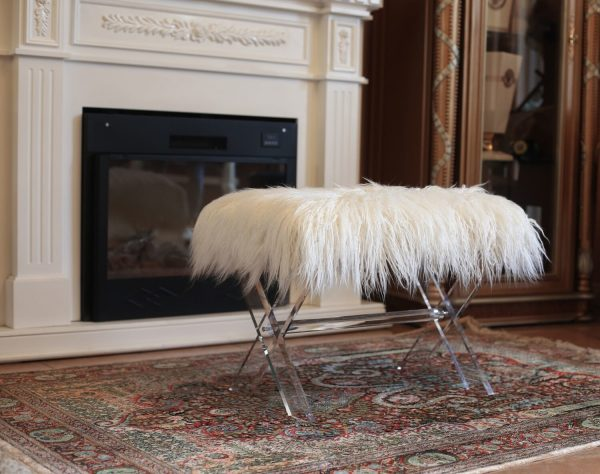  Fur bench/Ottoman with Acrylic Legs. 2 Colors to Choose: White or Pink  