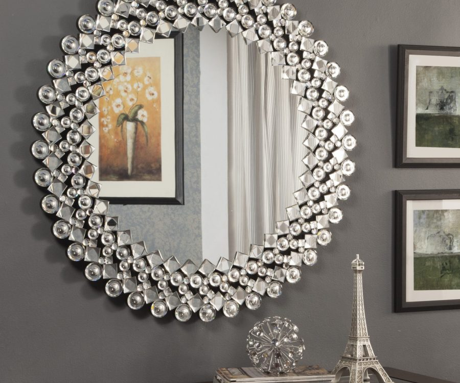 |Wall Mirror with Crystals Bordering the Frame||