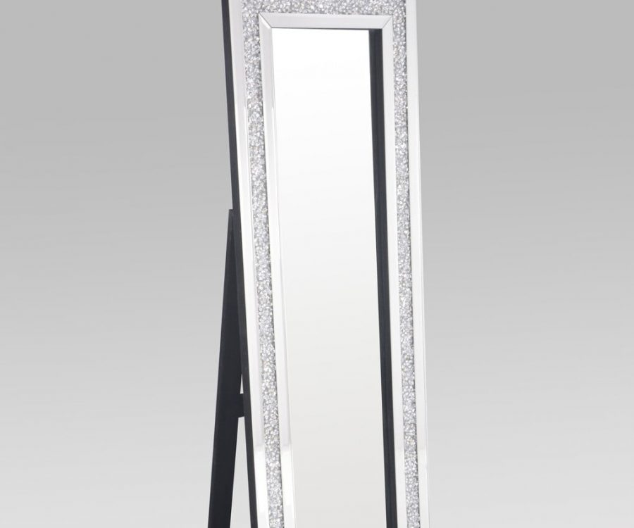 |Floor Mirror  with Crystal Border in the Frame|||