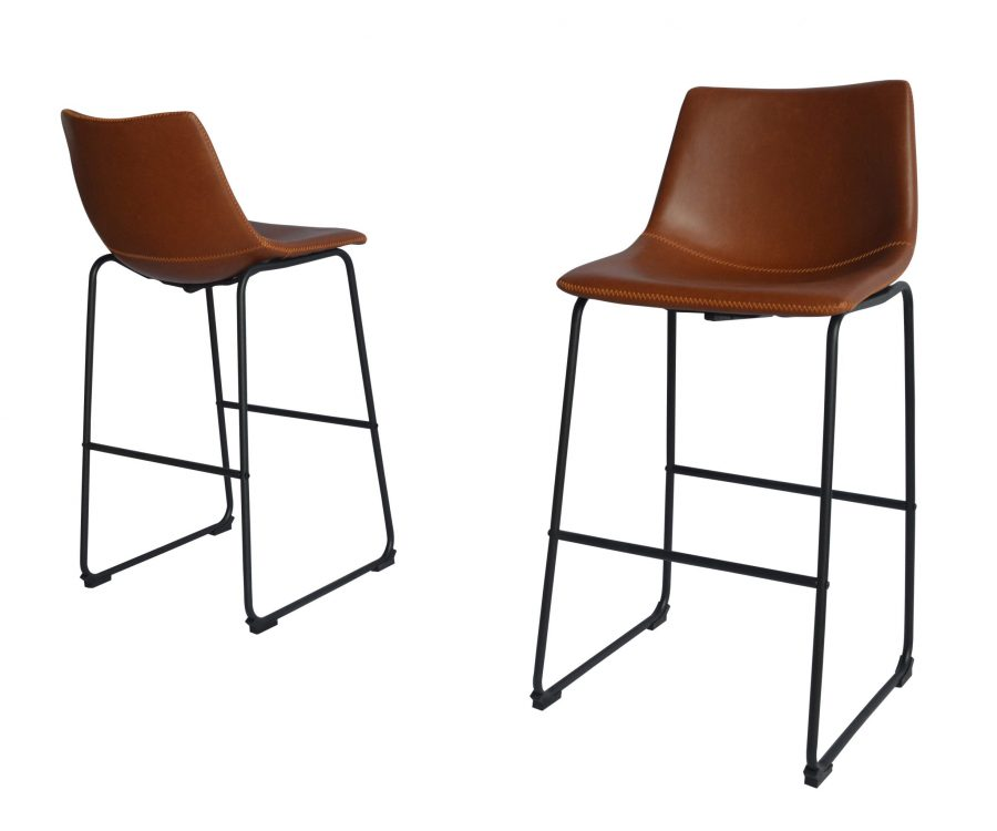 |Faux Leather Bronze Barstool|