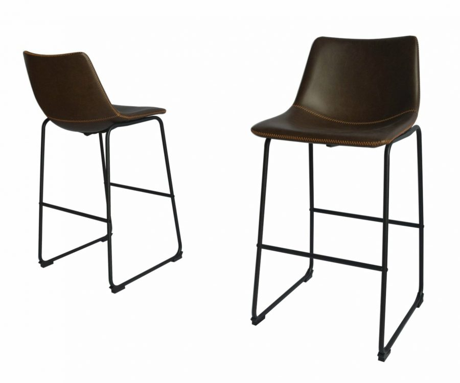 |Faux Leather Coffee Barstool|