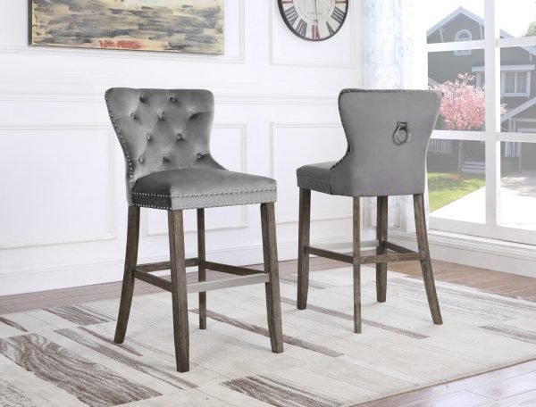 " 24"" Tufted Velvet Upholstered Bar stool in Weathered Grey Set of 2   "