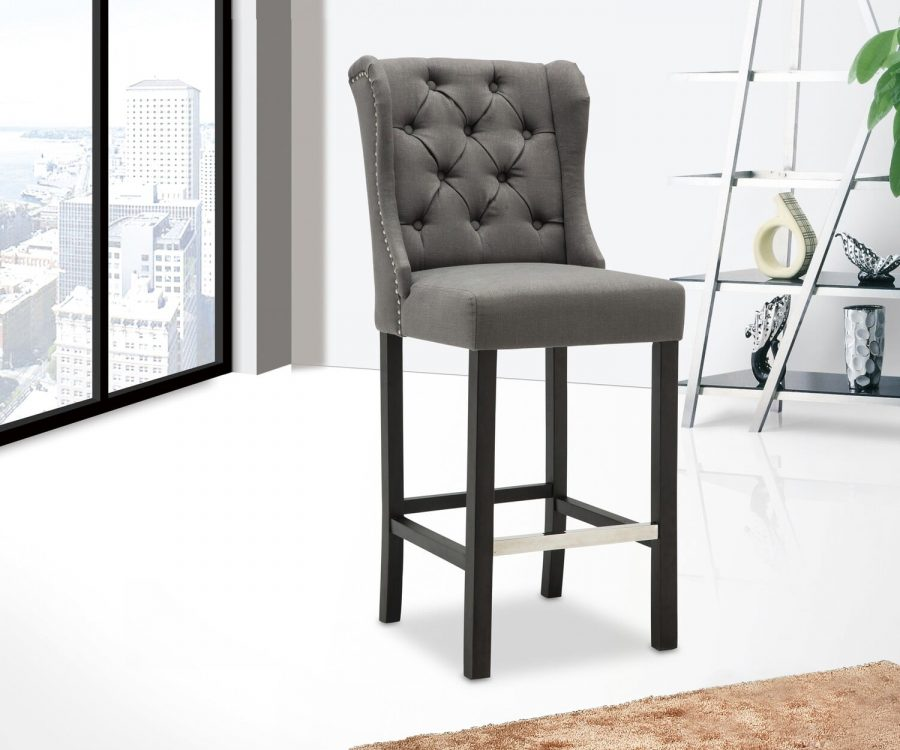 "|29""Tufted Linen Upholstered Bar Stool in Grey|Set of 2|"
