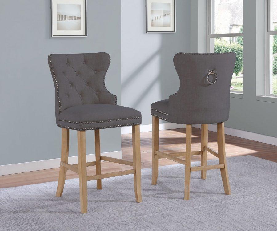 "|24"" Tufted Linen Upholstered Bar Stool in Grey|"