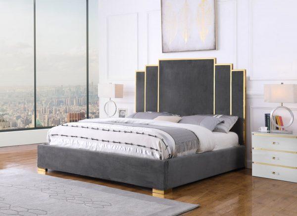  Dark Grey Velvet Queen Bed w/ Stainless Steel Legs and Accents