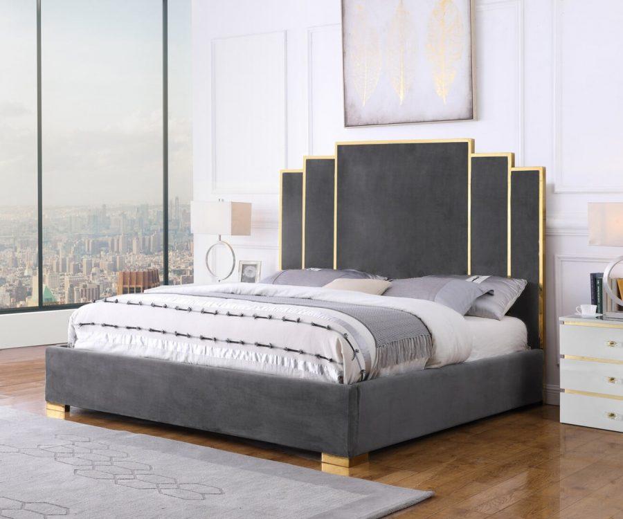 |Dark Grey Velvet Queen Bed w/ Stainless Steel Legs and Accents