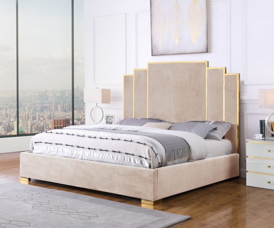 |Beige Velvet Queen Bed w/ Stainless Steel Legs and Accents|