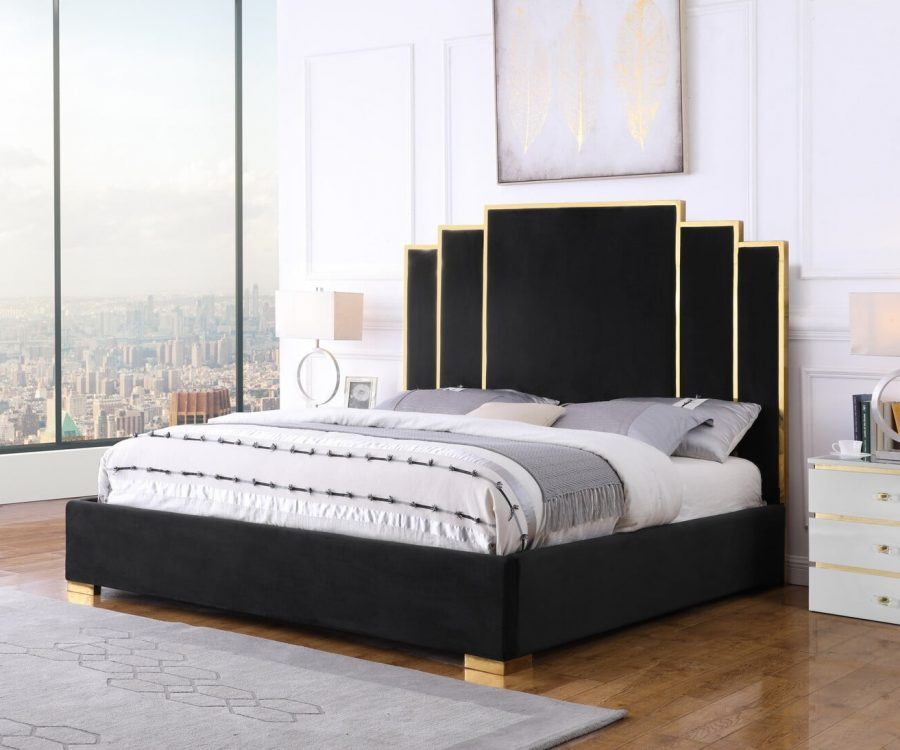 |Black Velvet Queen Bed w/ Stainless Steel Legs and Accents