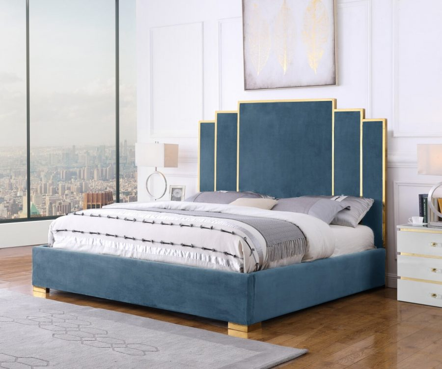 |Teal Blue Velvet Queen Bed w/ Stainless Steel Legs and Accents|