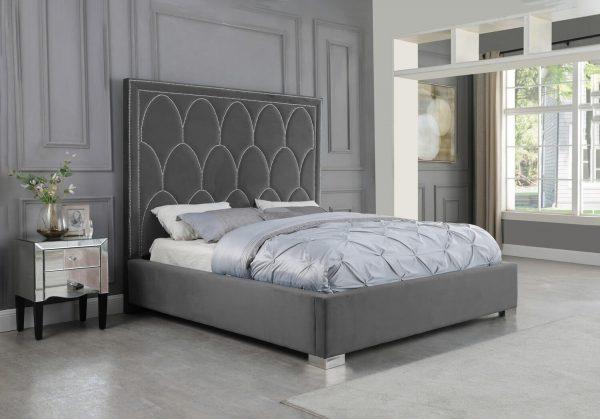  Dark Grey Panel Bed in Velvet Fabric w/ Nailhead - Queen