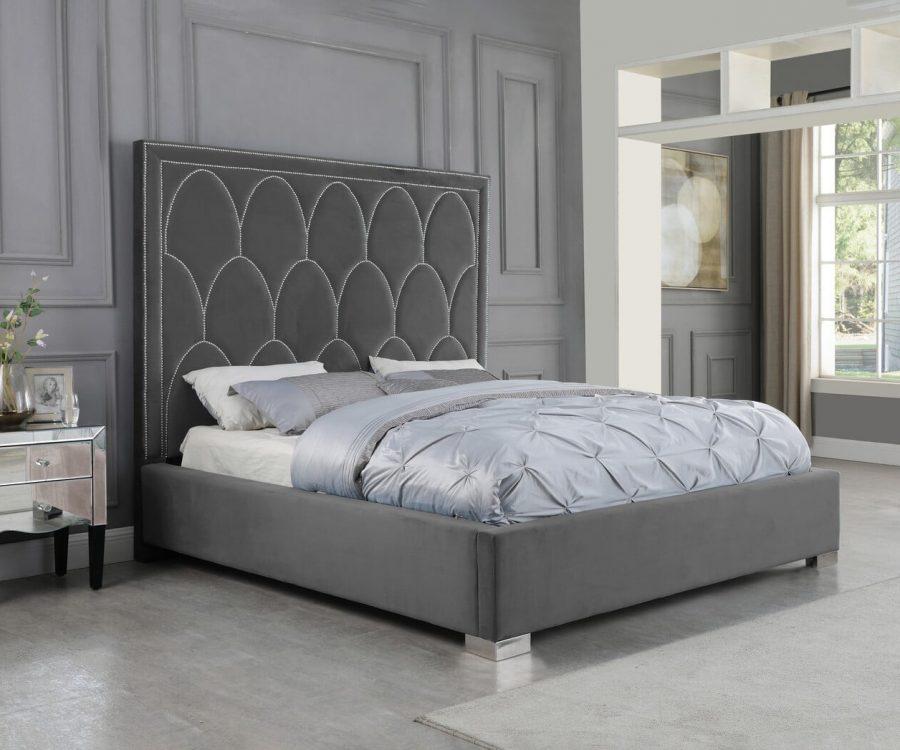 |Dark Grey Panel Bed in Velvet Fabric w/ Nailhead - Queen
