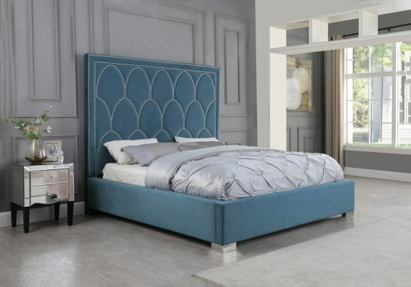 |Teal Blue Panel Bed in Velvet Fabric w/ Nailhead - Queen