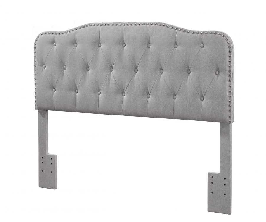 |Headboard with Tufted Buttons and Nailhead Trim. 2 Colors to Choose: Smoke grey or Fog Beige|