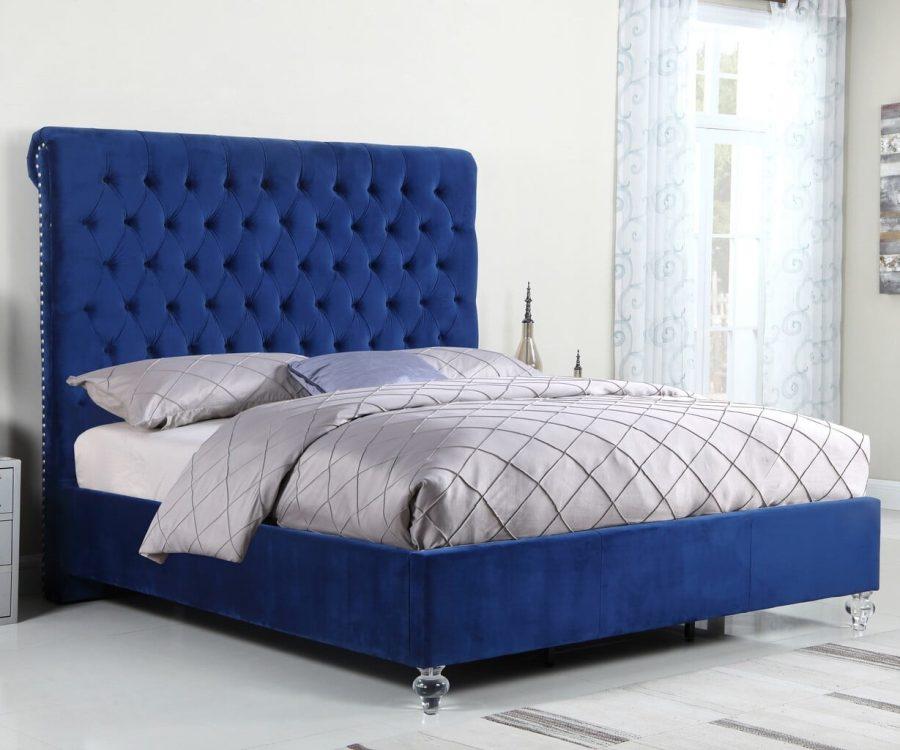 |Navy Blue Velvet Uph. Panel Bed with Acrylic Feet - Queen|||
