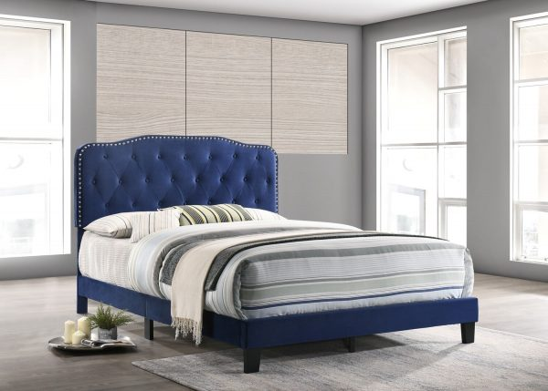 |Navy Blue Velvet Uph. Panel Bed with Silver Nailhead - Twin|