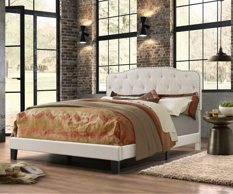 |Uph. Panel Bed in Velvet Fabric with Tufted Buttons and Nailhead Trim. 2 Colors to Choose: Smoke grey or Fog Beige|