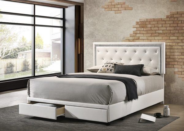 |Faux Leather Storage Platform Bed|White|Twin Size|