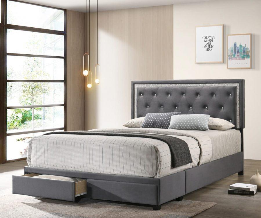|Dark Grey Velvet Uph. Storage Platform Bed|Twin Size||