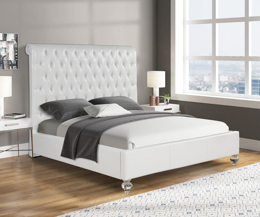 |White Faux Leather Panel Bed with Acrylic Feet - Queen|