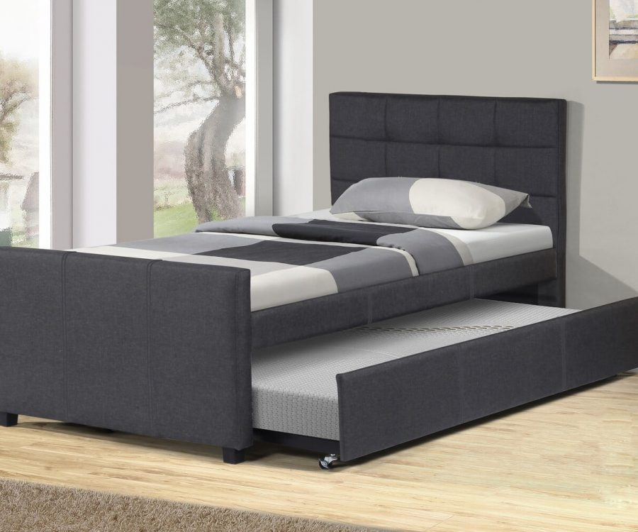 |Twin Bed With Twin Trundle in grey linen fabric||