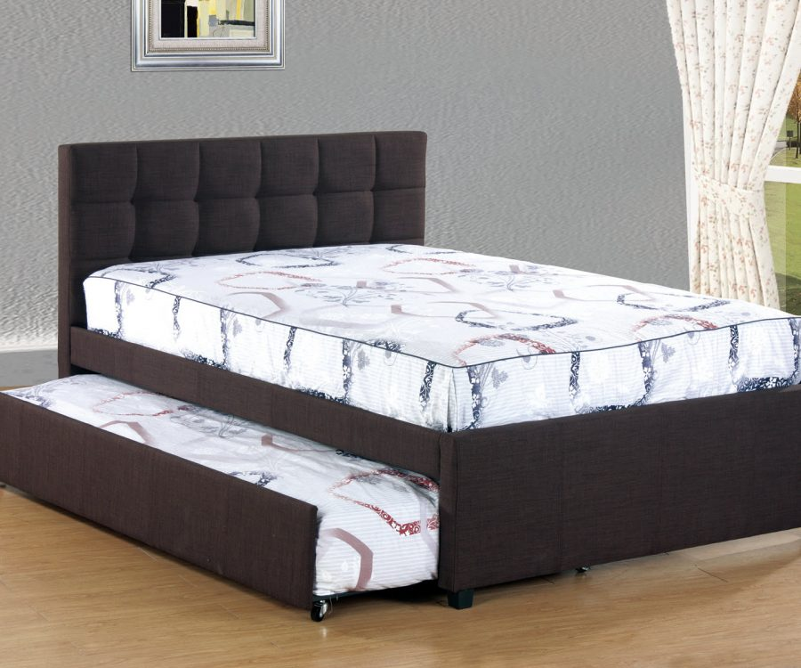 |Full Bed With Twin Trundle in coffee linen fabric||
