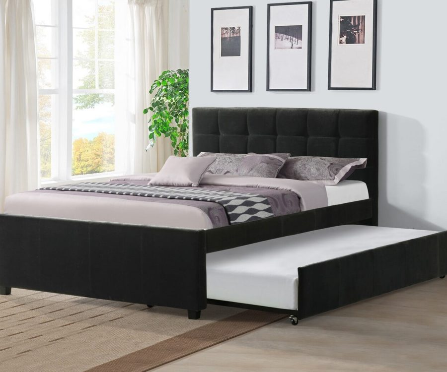 |Full Bed With Twin Trundle in Black Velvet Fabric||
