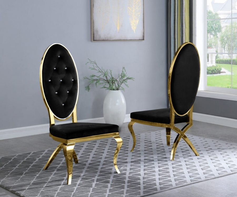 |Black Velvet Side Chair **Set of 2**|