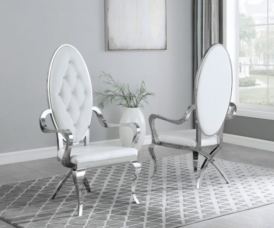 |White Faux Leather Arm Chair **Set of 2**|