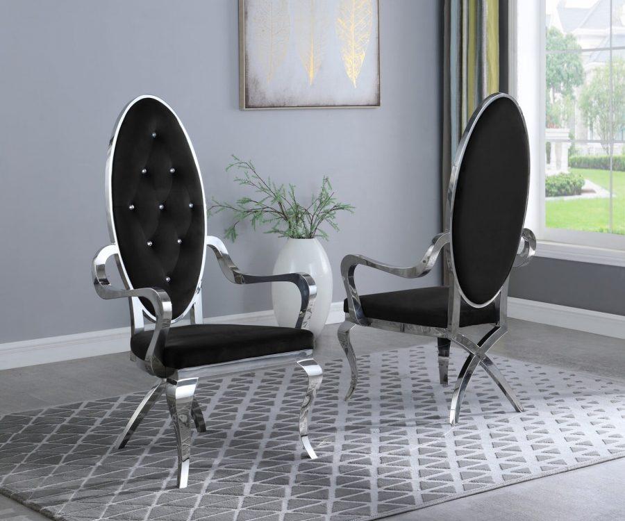 |Black Velvet Side Arm Chair **Set of 2**|