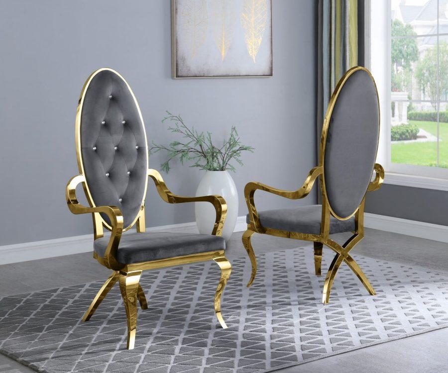 |Dark Grey Velvet Arm Chair **Set of 2**|