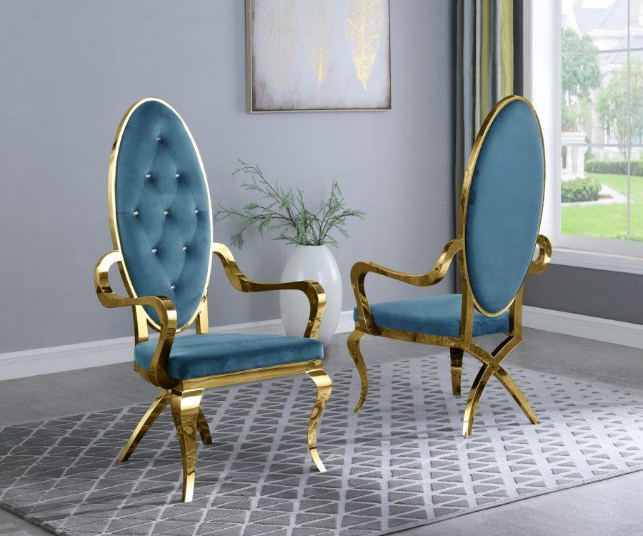 |Teal Velvet Arm Chair **Set of 2**|
