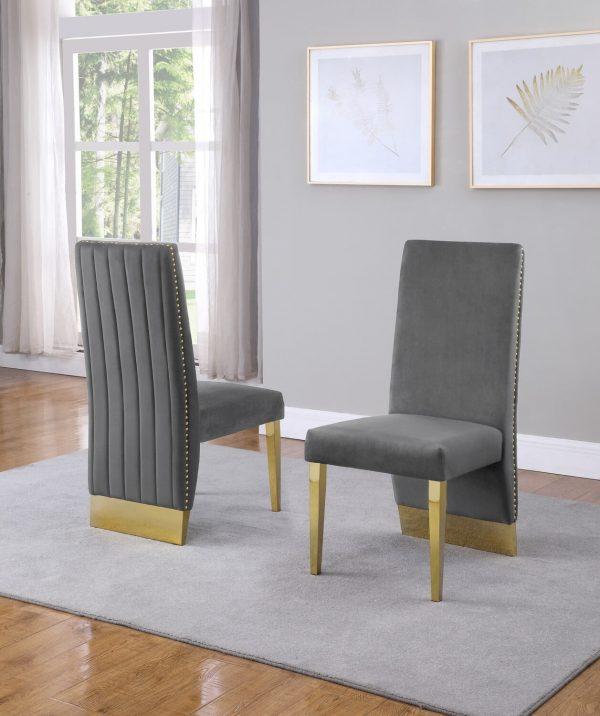  Tufted Velvet Upholstered Side Chair 4 Colors to Choose (Set of 2) - Dark grey