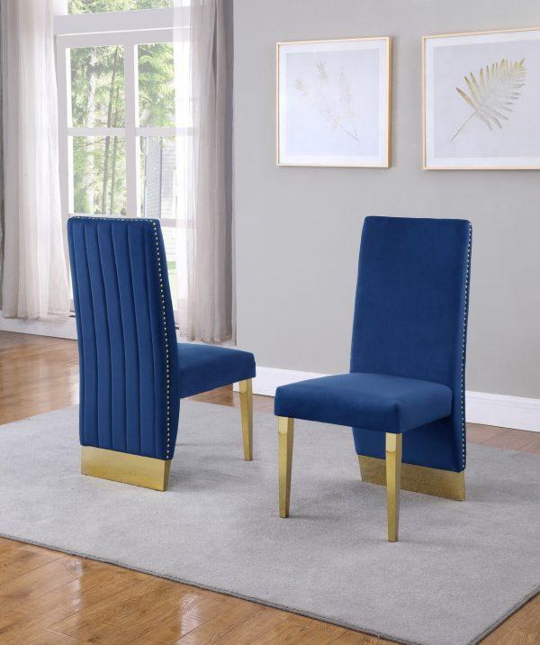|Tufted Velvet Upholstered Side Chair|4 Colors to Choose (Set of 2) - Navy