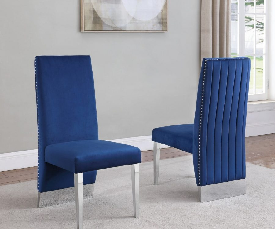  Tufted Velvet Upholstered Dining Chair 4 Colors to Choose (Set of 2) - Navy