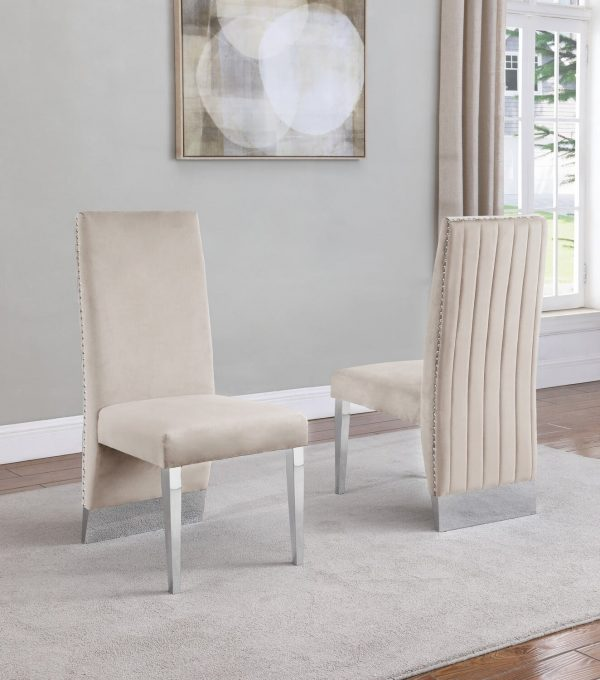  Tufted Velvet Upholstered Dining Chair 4 Colors to Choose (Set of 2) - Cream