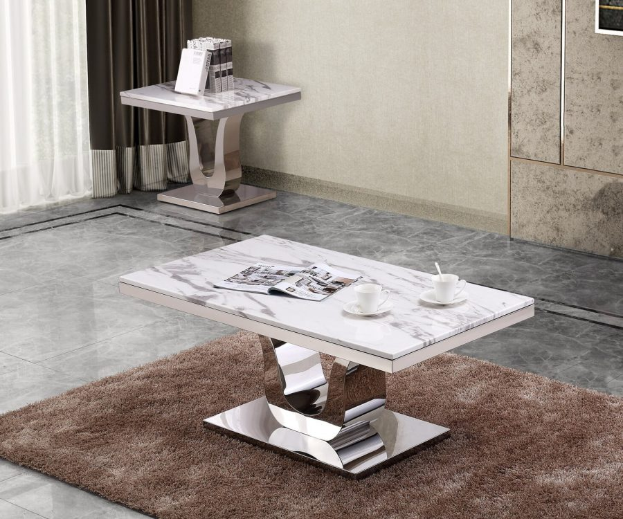 |Marble Top Coffee Table with Stainless Steel Base