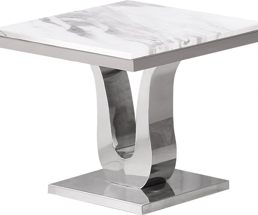 |Marble Top End Table with Stainless Steel Base