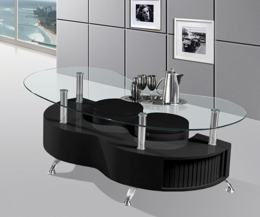 |High Gloss Lacquer Coffee Table with Glass Top|2 Stools and Inside Sotrage (Available in White and grey)