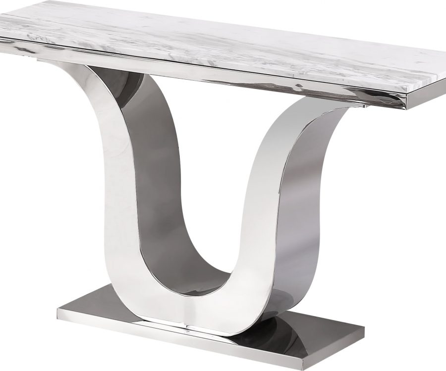 |Marble Top Console Table with Stainless Steel Base