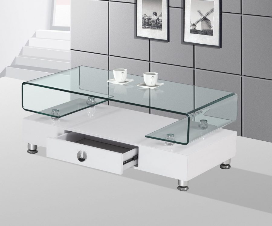 |High Gloss Lacquer Coffee Table with Drawer and Glass Top (Available in White and Black)|