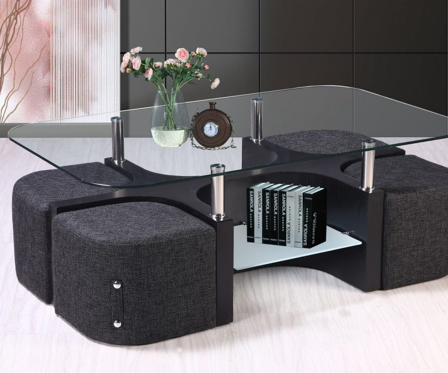 |Glass Top Coffee Table with Woven Fabric Stools|Stool Storage