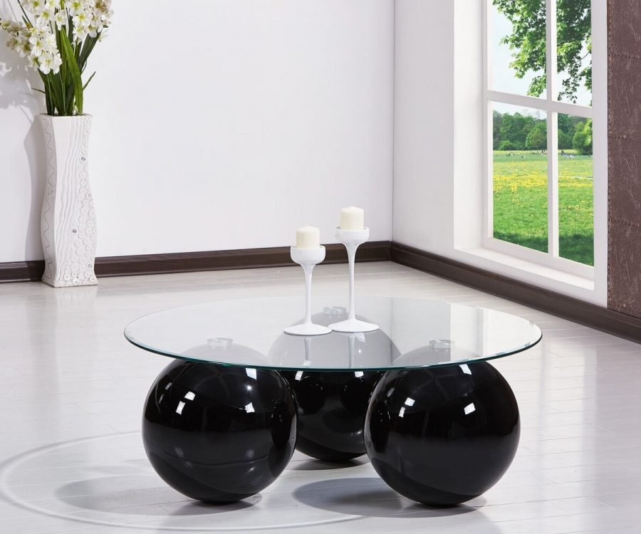 |High Gloss Lacquer Coffee Table with Glass Top (Available in grey|Black