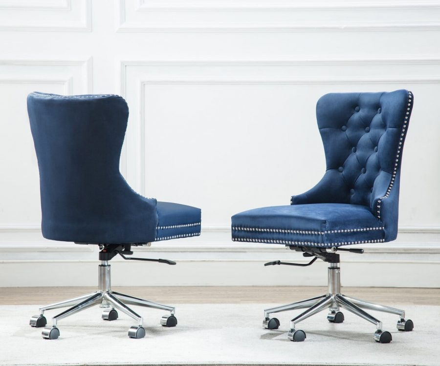 |Adjustable and Mobile Office Chair with Tufted Buttons and Nailhead Trim (Available in grey|Blue
